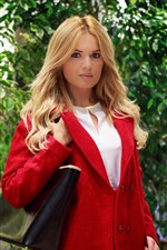 Preview iPhone wallpaper Blonde girl, red coat