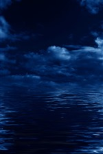Blue sea, clouds, night