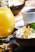 Café da manhã, suco de laranja, café, comida, nozes