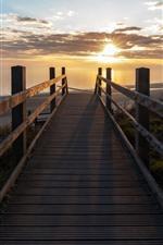 Bridge, sea, beach, sunrise, morning