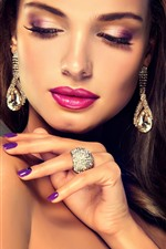 Preview iPhone wallpaper Brown hair fashion girl, makeup, earring, ring