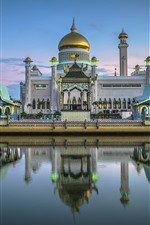 Preview iPhone wallpaper Brunei, Royal mosque, river, boat