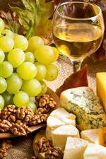 Cheese, grapes, nuts, wine