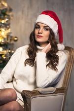 미리보기 iPhone 배경 화면 크리스마스 소녀, 스웨터, 모자