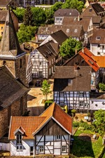 Preview iPhone wallpaper City, houses, street, roof