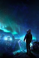 City night, skyscrapers, northern lights, stars, motorcycle, person, creative picture