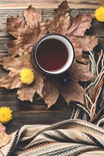Coffee, maple foliage, sweater, scarf