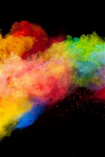 Colorful smoke, rainbow colors, black background