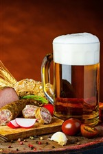 Cup, beer, meat, food
