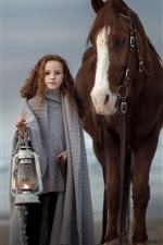 Cute brown hair little girl and horse, lamp