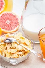 Preview iPhone wallpaper Delicious breakfast, orange juice, milk, bananas, cereal, grapefruit