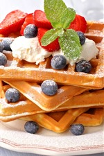 Delicious food, waffles, strawberry, blueberries