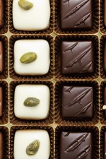 Different kinds of chocolate candy, sweet food