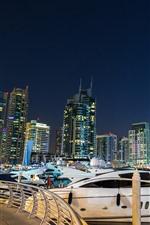 Preview iPhone wallpaper Dubai, yachts, skyscrapers, city, night