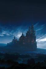 Fantasy world, castle, forest, sky, clouds, dusk