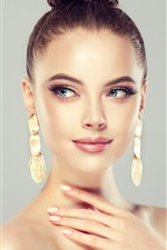 Preview iPhone wallpaper Fashion girl, hairstyle, earring, art photography