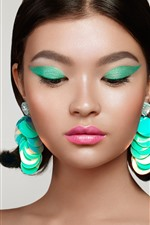 Preview iPhone wallpaper Fashion girl, makeup, earring, decoration, art photography
