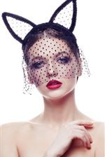 Forme a menina, véu, decoração das orelhas, fundo branco