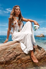 Preview iPhone wallpaper Fashion girl, white skirt, sea, rocks, summer