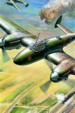 Preview iPhone wallpaper Fighter, war, bombing, railroad, art picture