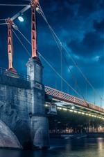 França, lyon, cidade, à noite, ponte, luzes, rio