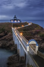 Galicia, sea, lighthouse, bridge