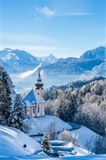 Germany, Bayern, church, trees, mountains, snow, winter