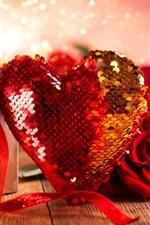 Presente, coração do amor, rosa vermelha, brilho, romântico