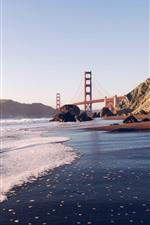 Golden Gate Bridge, sea, waves, coast, San Francisco, USA