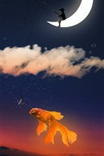 Goldfish, sky, moon, clouds, fishing, creative picture