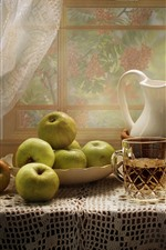 Green apples, cup, kettle, window, table