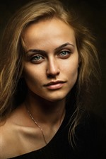 Preview iPhone wallpaper Green eyes blonde girl, darkness