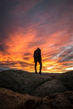 Preview iPhone wallpaper Guy, silhouette, clouds, sunset