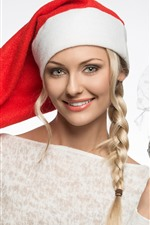 미리보기 iPhone 배경 화면 행복한 금발의 여자, 머리, 크리스마스 모자