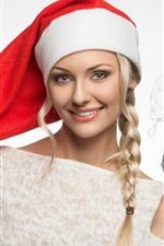 Happy blonde girl, braid, Christmas hat