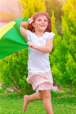 Preview iPhone wallpaper Happy little girl, running, grass, flag