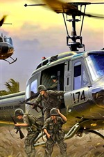 Helicopter, landing, soldiers, art picture