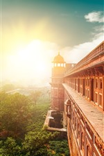 India, temple, buildings, sun rays