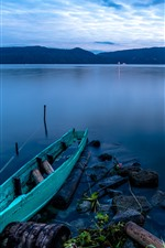 Indonesia, Sumatra, Lake Toba, boat, dusk