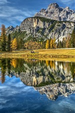 Italy, Dolomites, lake, mountains, trees, autumn
