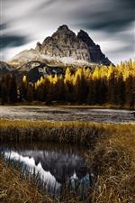Italy, nature landscape, autumn, trees, mountain, lake, park