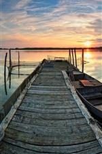 Lago, barco, pier, pôr do sol