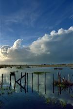 Lake, fence, clouds, dusk