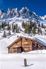 Lassen Volcanic National Park, neve, montanha, árvores, casa, inverno, EUA