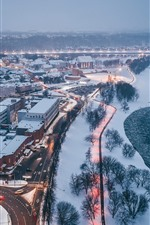 Preview iPhone wallpaper Lithuania, Kaunas, winter, snow, river, dusk, city top view