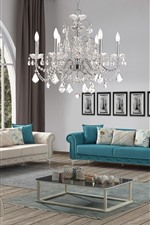 Preview iPhone wallpaper Living room, sofa, chandelier