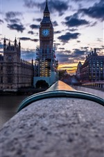 London, Big Ben, river, bridge, dusk, England