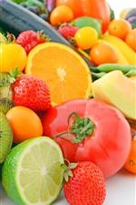 Preview iPhone wallpaper Many kinds of fruit, oranges, lemon, kiwi, melon, strawberry, corn