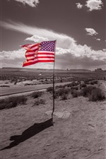 Preview iPhone wallpaper Monument Valley, flag, USA