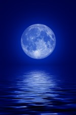 Lua, mar azul, luar, noite